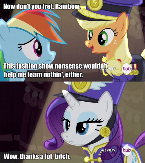 applejack,fashion,undermining pony,rarity