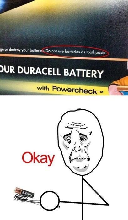 warning battery toothpaste Okay - 8138301952
