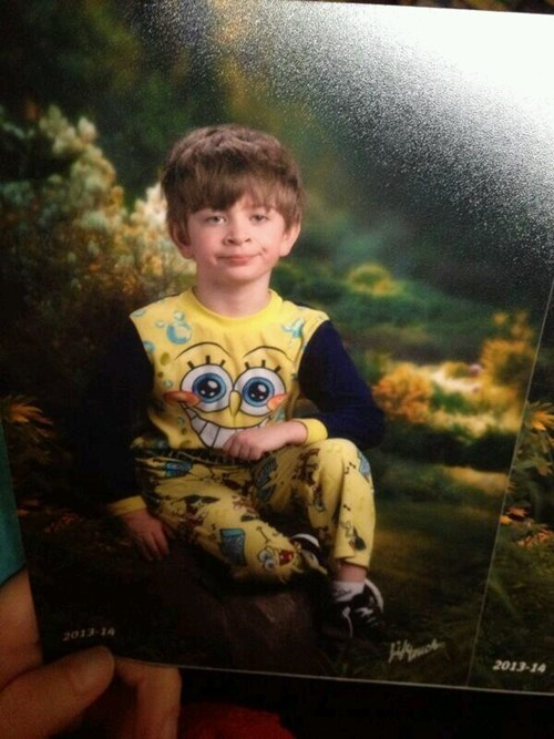 picture day,kids,school pictures,SpongeBob SquarePants,parenting,pajamas,g rated