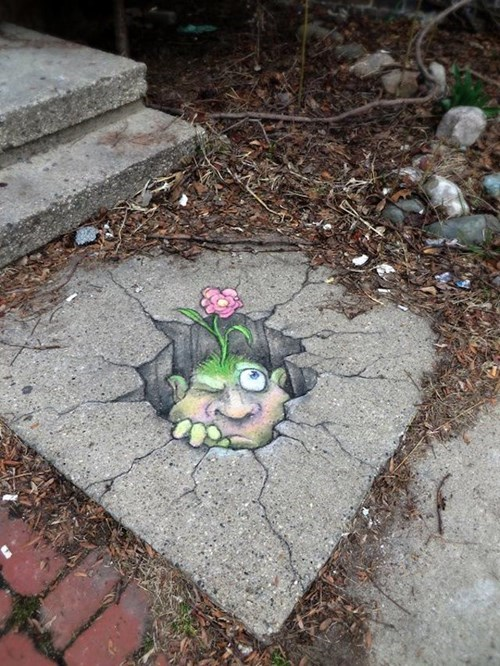 Street Art,chalk art,hacked irl
