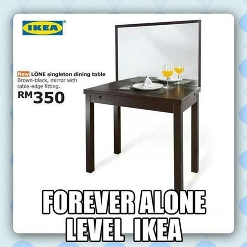 forever alone,ikea,dinner,food,g rated,dating
