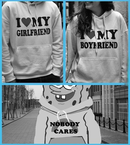 poorly dressed SpongeBob SquarePants hoodie couple - 8139492352