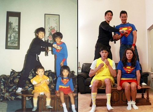 kids,siblings,family photo,parenting,superman,supergirl
