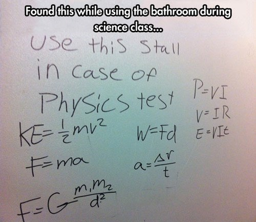 bathrooms physics school tests exams