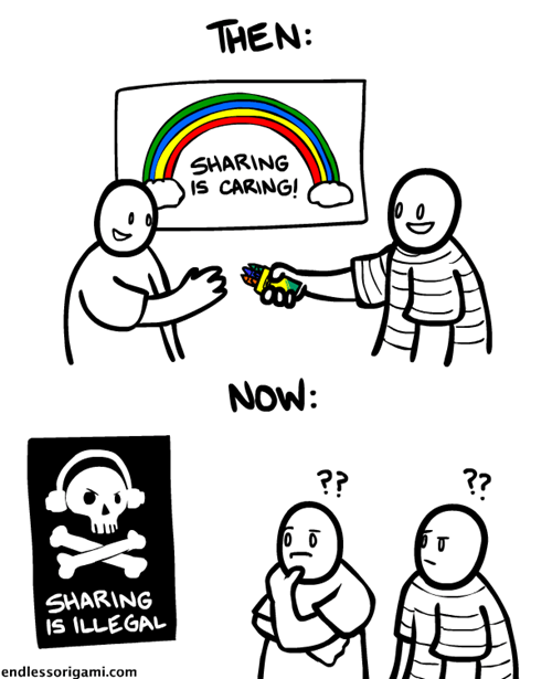 sharing piracy Then And Now web comics - 8139835904