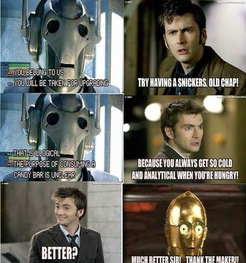C3PO,David Tennant,cybermen,snickers