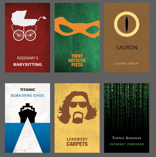 business cards,movies,monday thru friday