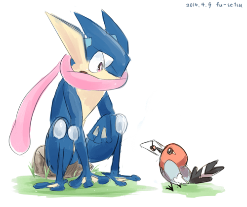 Fan Art,fletchling,greninja