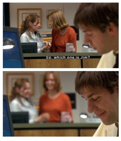 the office,jim and pam,cute,love