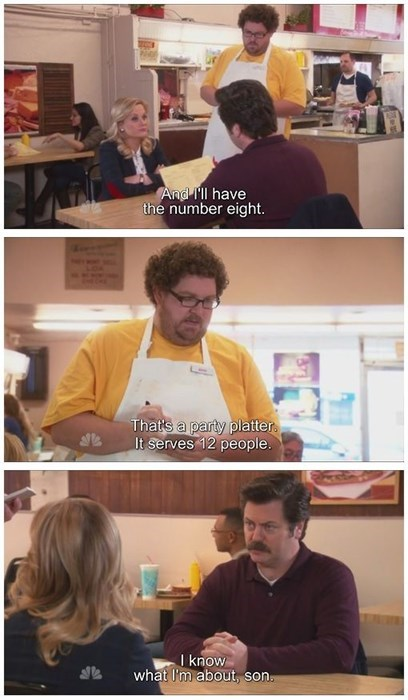 parks and recreation,ron swanson,restaurants,funny