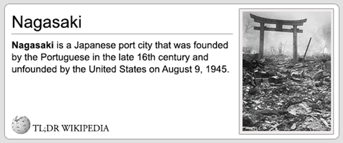 Text - Nagasaki Nagasaki is a Japanese port city that was founded by the Portuguese in the late 16th ceentury and unfounded by the United States on August 9, 1945. TL;DR WIKIPEDIA
