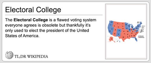 Text - Electoral College The Electoral College is a flawed voting system everyone agrees is obsolete but thankfully it's only used to elect the president of the United States of America. TL;DR WIKIPEDIA