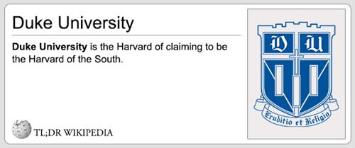 Text - Duke University U Duke University is the Harvard of claiming to be the Harvard of the South Eruditio et Religio TL;DR WIKIPEDIA