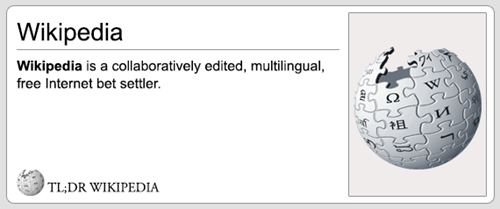 Text - Wikipedia Wikipedia is a collaboratively edited, multilingual free Internet bet settler WC TL;DR WIKIPEDIA