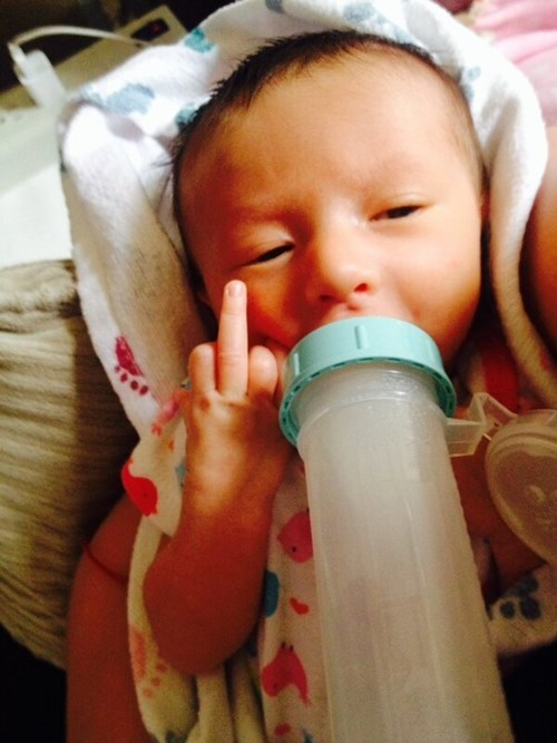 baby flipping the bird parenting - 8142147840
