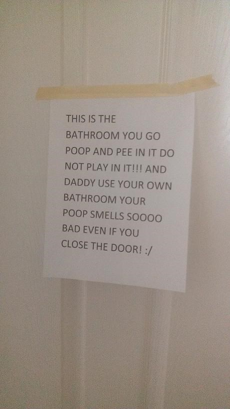 sign,kids,parenting,bathroom