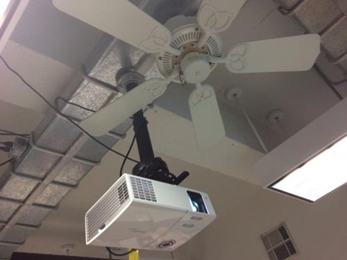 monday thru friday,ceiling fan,work,projector