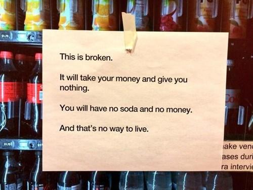 monday thru friday sign work vending machine - 8143346176