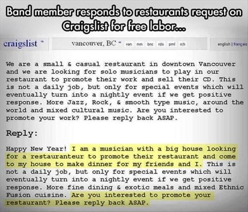 craigslist monday thru friday restaurant work musicians g rated - 8143360256