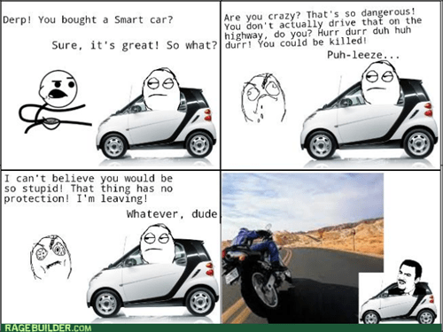 Hypocrisy motorcycle smart car