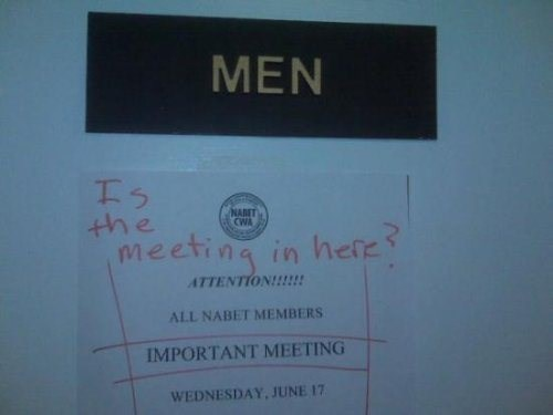 monday thru friday,sign,meeting,work,bathroom