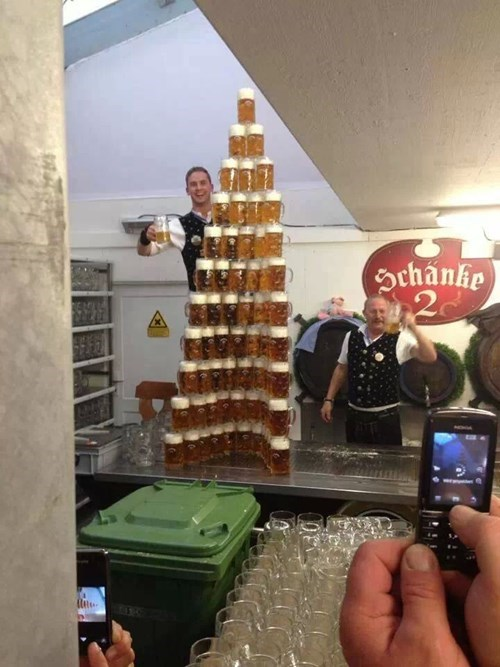 vertical pic of a pyramid of beers