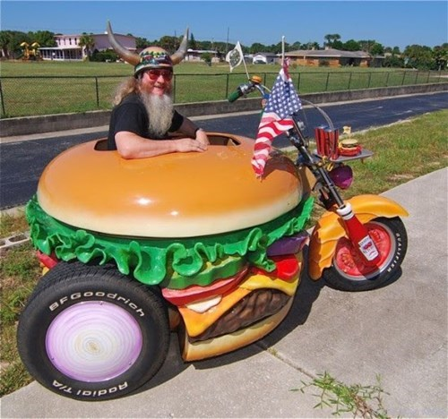 DIY hamburger motorcycle - 8143685376