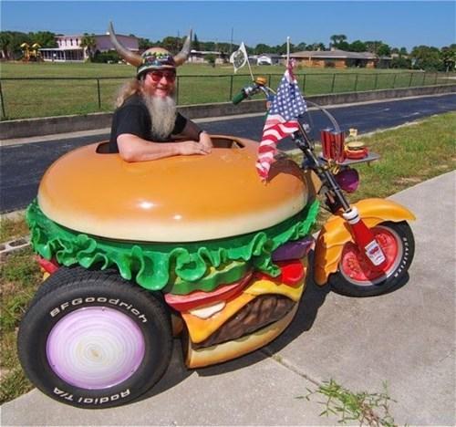 DIY hamburger motorcycle - 8143685376