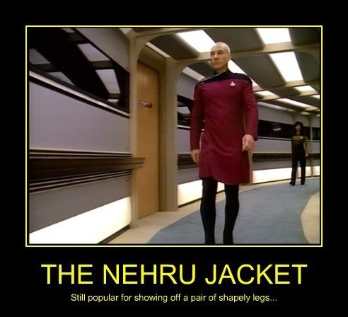 This season's formal daywear modelled for us here by 'Jean-Luc'...