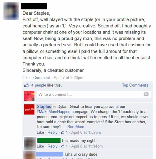 customer service chair accidental sexy staples failbook - 8146664192