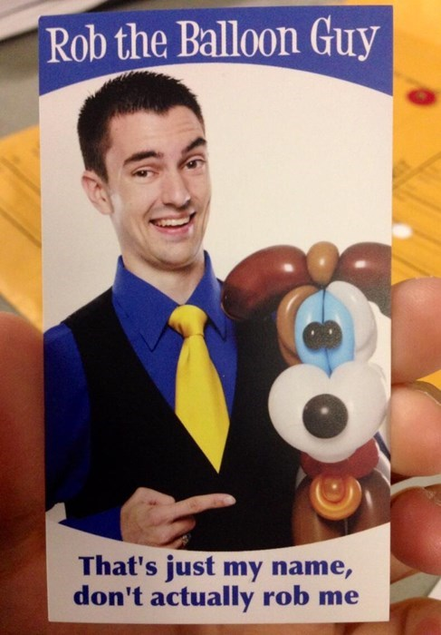 rob the balloon guy,business cards