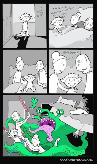 kids lightsabers parenting web comics monster - 8147228672