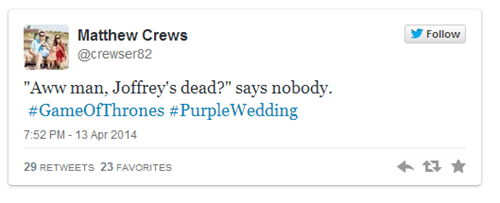 twitter,Game of Thrones,nerdgasm,purple wedding,joffrey baratheon,season 4