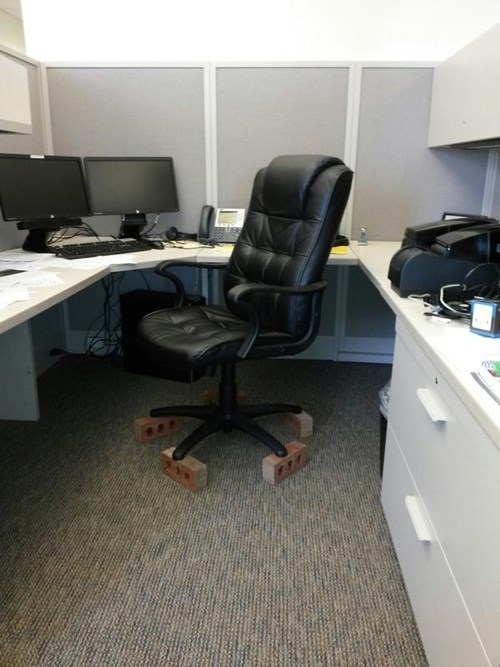 monday thru friday,office chair,cubicle prank,work,prank,cubicle boredom