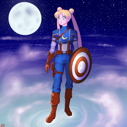 captain america,Fan Art,sailor moon
