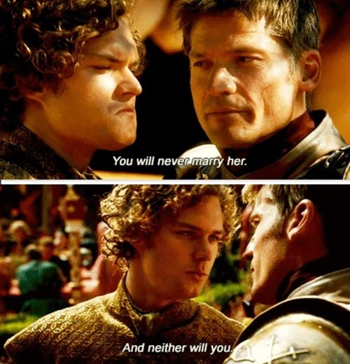 loras tyrell jaime lannister Game of Thrones purple wedding season 4 - 8147657472