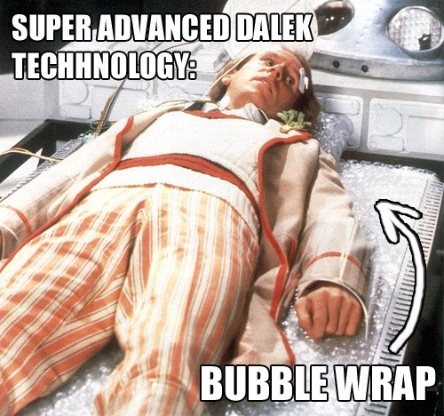classic who,5th doctor,technology,bubble wrap,daleks