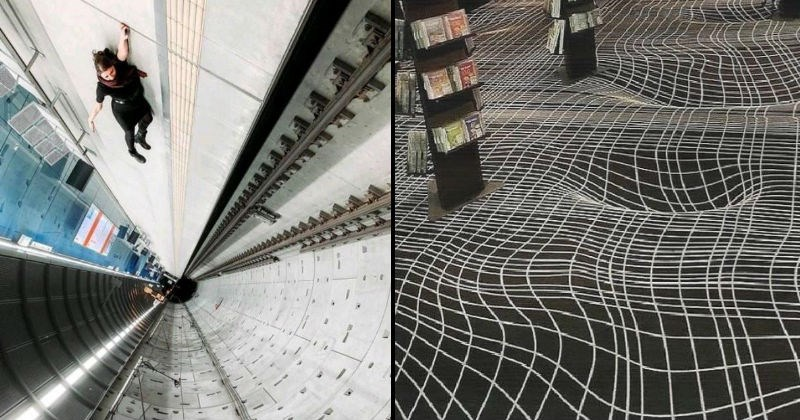 optical illusions, warped perspective