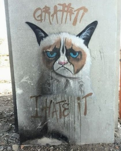 Grumpy Cat graffiti hacked irl