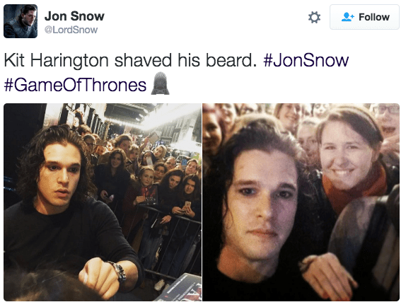 Jon Snow twitter beard shave Game of Thrones reactions kit harington