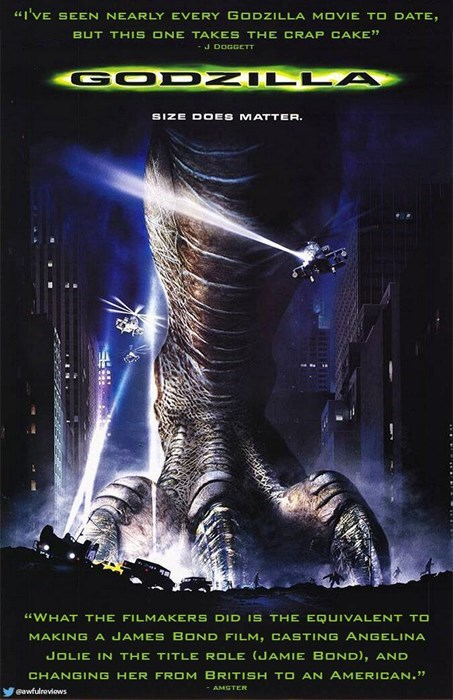 """Poster - """"i'VE SEEN NEARLY EVERY GODZILLA MOVIE TO DATE, BUT THIS ONE TAKES THE CRA J DOGGETT GOD ZILLA SIZE DOES MATTE """"WHAT THE FILMAKERS DID IS THE EQUIVALENT TO MAKING A JAMES BOND FILM, CASTING ANGELINA JOLIE IN THE TITLE ROLE (JAMIE BOND), AND CHANGING HER FROM BRITISH TO AN AMERICAN."""" AMSTER eawfulreviows"""