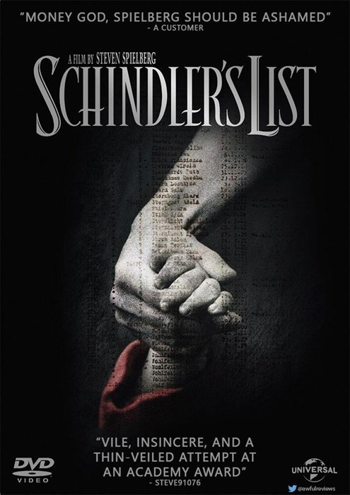 """Poster - """"MONEY GOD, SPIELBERG SHOULD BE ASHAMED"""" A CUSTOMER SCHINDIERS LST A FILM BY STEVEN SPIELBERG a pala edu ra S arsva ar 12tht Toait """"VILE, INSINCERE, AND A THIN-VEILED ATTEMPT AT DVD UNIVERSAL AN ACADEMY AWARD"""" VIDEO - STEVE91076 gawfulreviews"""