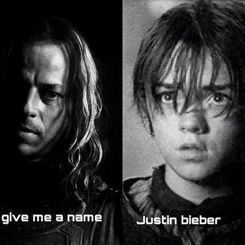 justin beiber Game of Thrones arya stark - 8148918784