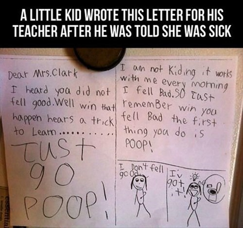 poop kids note parenting advice - 8148973824