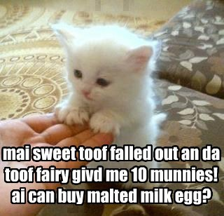 mai sweet toof falled out an da toof fairy givd me 10 munnies! ai can buy malted milk egg?