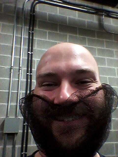 monday thru friday,beard,facial hair,bald,hairnet,work