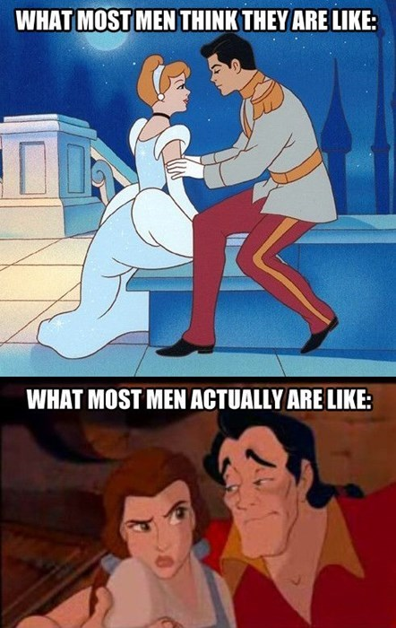 disney,cartoons,dating,Beauty and the Beast,Gaston,prince charming,cinderella