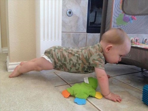 baby,push ups,parenting,camouflage