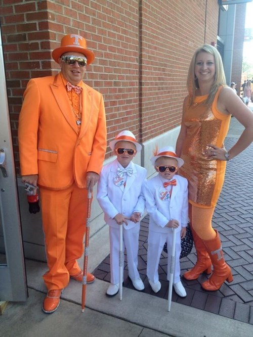 football family photo dress orange Sequins poorly dressed Tennessee suit g rated