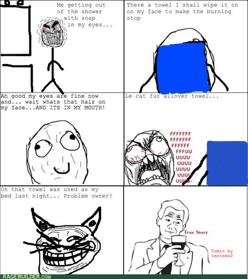 Cats fur towel trollface rage - 8151310080